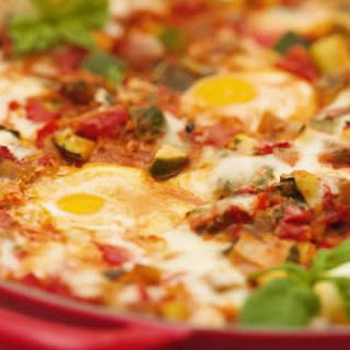 Roasted Ratatouille with Eggs & Cheese