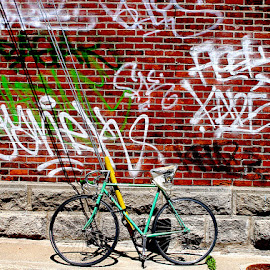 Bike and Graffiti by Ronnie Caplan - Transportation Bicycles ( patterns, brick, graffiti, shadows, wall, colours, bicycle )
