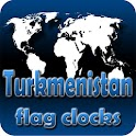 Turkmenistan flag clocks icon