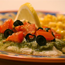 Oven Roasted Tilapia With Tomatoes, Pesto and Lemon