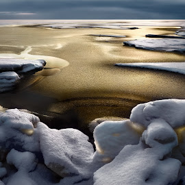 Golden silence by Maxim Malevich - Landscapes Waterscapes ( bright, frost, wintertime, sky, cold, nature, snow, winterly, weather, arctic, light, climate, shiny, hummock, texture, northland, horizon, northern, winter, season, ice opening, moody, ice clearing, glacial, embacle, wintery, natural, golden, icy, ice-hole, freeze-up, north, landscape, frozen, freezing, ice-floe, ice, dramatic, transparent, wintry, water, polar, ice-cold, scenics, sea, seascape, gelid, color, freeze, background )