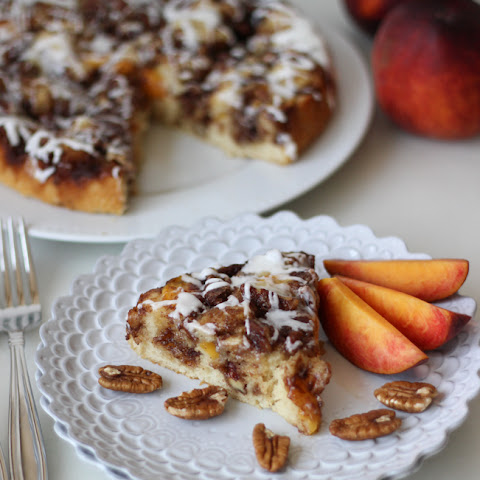 Peach Pecan Cinnamon Roll Cake