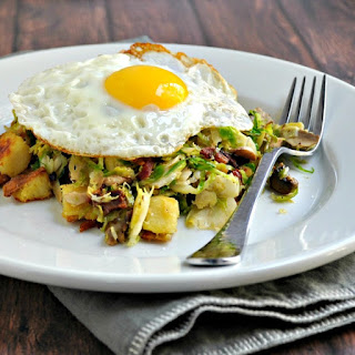 Sweet Potato, Brussels Sprout, Mushroom Hash with Bacon and Fried Egg