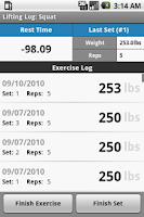 Screenshot of Lifting Log