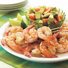 Spicy Grilled Shrimp Kebabs with Avocado and Papaya Salad