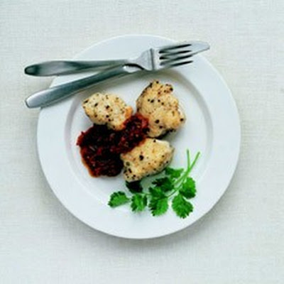 Pepper-crusted Monkfish with Red Pepper Relish