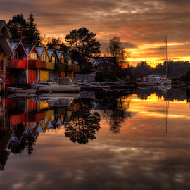 Reflections by Rune Askeland - City,  Street & Park  Neighborhoods ( clouds, sunset, boats, reflections, boathouses )