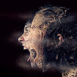 Animal Rage by Jason Guy - People Body Art/Tattoos ( sand, scream, yell, surrealism, dust, surreal, tribal, shout, portrait, profile )