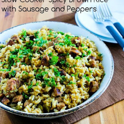 Slow Cooker Spicy Brown Rice with Sausage and Peppers