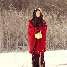 Red Riding Hood by Jen Accinelli - Novices Only Portraits & People ( nature, snow, beautiful, teenager, whimsical )
