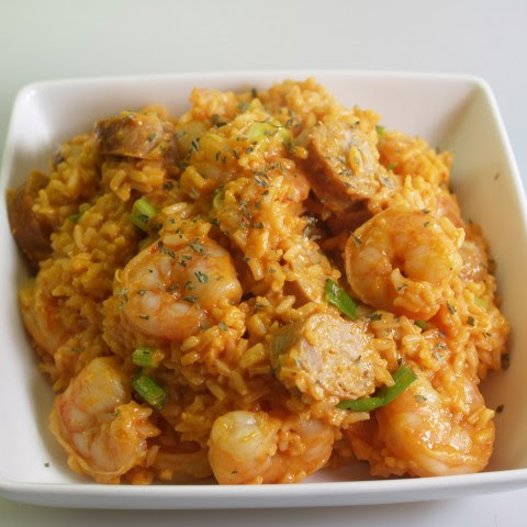 Grilled Shrimp And Sausage With Red Rice