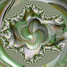 FWLK 2 - The Knot by Tina Dare - Digital Art Abstract ( abstract, greens, patterns, manipulated, designs, distorted, fractal, curves, shapes )