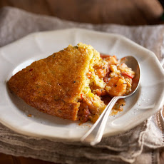 Confetti Corn Bread�Crusted Shrimp in Creole Filling