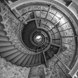 Into The Nautilus by Gary Piazza - Black & White Buildings & Architecture ( black and white, westport, lighthouse, grays harbor )