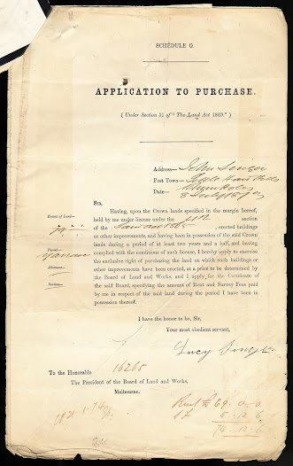 Lucy's application to purchase her deceased husband's land in the Parish of Lynchfield. PROV, VPRS 627/P0 Land Selection Files, unit 174, item 15159/3