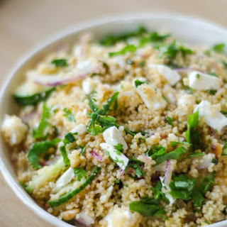 Couscous Salad with Cucumber, Red Onion & Herbs