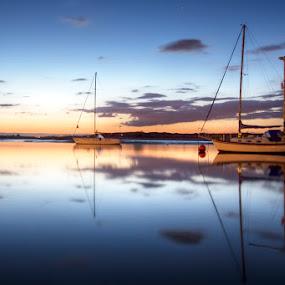 boats sunset by Jozef Svintek - Transportation Boats ( clouds, boast, sunset, seascape, yachts, , water, device, transportation )
