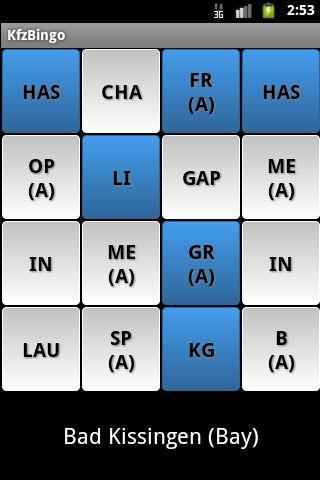 Kennzeichen Bingo