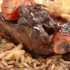 Oven Roasted Lamb Shanks with Roasted Tomatoes and Toasted Orzo