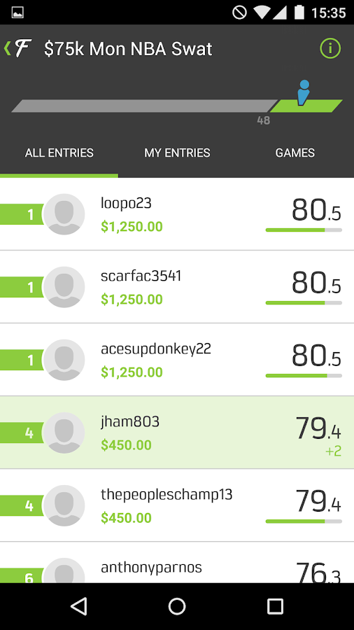FanDuel Live Scoring Screenshot 1