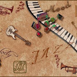 Jazz Montage by Robin Morgan - Illustration Abstract & Patterns ( music, photoshop art, montage, jazz )