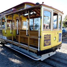 A Cable Car awaits by Curley Reed - Transportation Other ( public transportation, historic landmark, tourists, cable car, hyde street, san francisco )