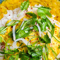 Spiced Dal Breakfast Bowl with Yogurt and Pickled Daikon