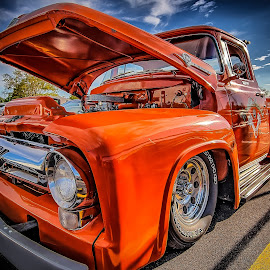 Orange Ford Truck by Ron Meyers - Transportation Automobiles