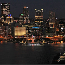 Pittsburgh at night by Jackie McCorkle Tepe - Buildings & Architecture Other Exteriors