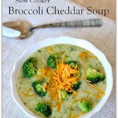 Slow Cooker Broccoli Cheddar Soup (lightened up and gluten free)
