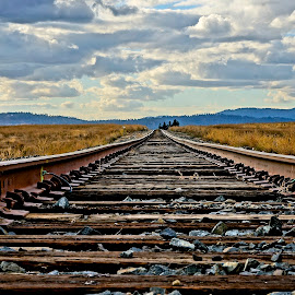The Tracks by Barbara Brock - Transportation Railway Tracks ( cloudy sky, train tracks, railroad tracks, tracks up close, railroad tracks down low, idaho prairie, railway tracks )
