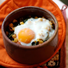 Kale, Chickpeas, and Sausage with Oven-Baked Egg