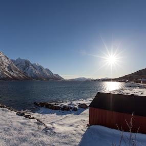 Sunshine by Benny Høynes - Landscapes Weather ( winter, boathouse, sunshine, sun, norway )