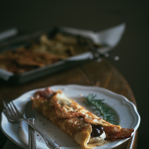 Grape Crepes With Brie And Bacon