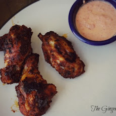 Brown Sugar Baked Wings with Roasted Red Pepper Sauce