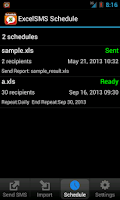 Screenshot of ExcelSMS Schedule
