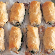 Filo Rolls with Arugula, Spinach and Feta