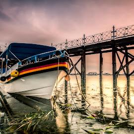 Waiting by Ade Irgha - Transportation Boats ( explore bali, airimagebali.com, sunrise, bridge, boat )