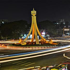 by Sankar GM - City,  Street & Park  Street Scenes ( exposure, clock tower, light trails )
