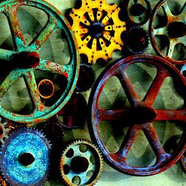 Coloful Wheels by Sandra Maldonado - Abstract Patterns