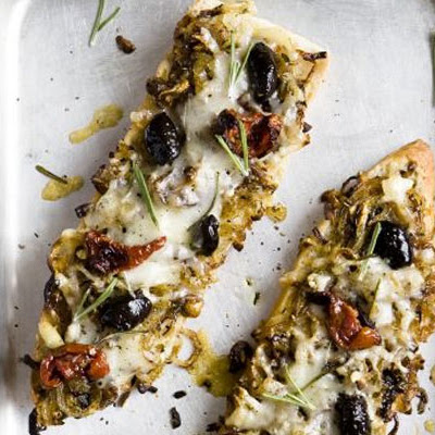 Ciabatta Pizzas With Sticky Onions
