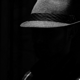 Who's there? by Eladio Gomes - Abstract Light Painting ( mistery, shadow, black & white, intriguing, dark, hat,  )