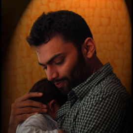 With the Baby by Mihir Shah - People Portraits of Men ( love, caring, care, baby, man )