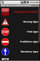 Screenshot of Road signs, emergency numbers