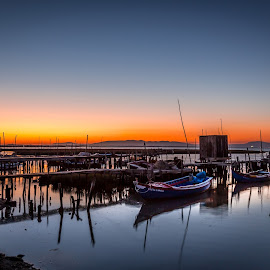 The dock of the bay by Pedro Silva - Transportation Boats ( #alentejo, #pedro silva images, #carrasqueira, #portugal, #boats, #sunset, #canon )