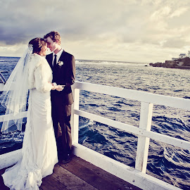 Point Lonsdale Lighthouse by Alan Evans - Wedding Bride & Groom ( wedding photography, waterscape, aj photography, lighthouse, ocean, seascape, jetty, marriage, wedding, wedding day, pier, geelong wedding photographer, bride and groom, bride, groom )