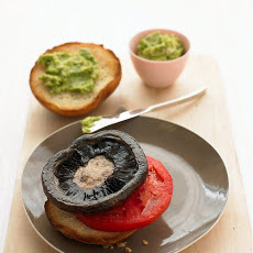 Portobello Mushroom Burger with Spicy Avocado Sauce