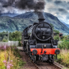 Jacobite Train... by Graham Markham - Transportation Trains ( scottish highlands, photomatix, hdr, fort william, ben nevis, lightroom, jacobite train, photoshop, steam )