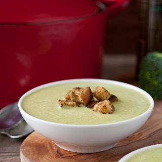 Green Beer Cheese Soup (Broccoli Cheddar) with Pesto Croutons