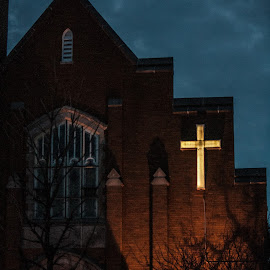church at night by Michelle Danker - Buildings & Architecture Places of Worship ( church, bricks, night, shadows, cross )